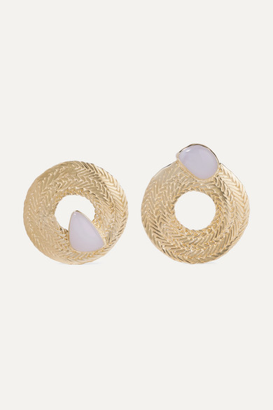 Colette Gold Tone Chalcedony Earrings by Stvdio