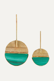Clarita gold-tone malachite earrings