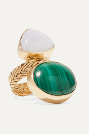 Isabella gold-tone, malachite and chalcedony ring