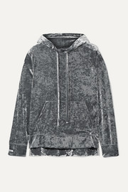 BLOUSE Sleepy Boy crushed-velvet hoodie