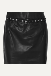 BLOUSE Belted leather mini skirt