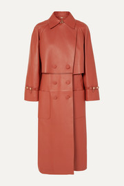 Fendi Double-breasted leather trench coat