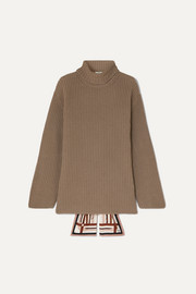 Fendi Silk-trimmed ribbed cashmere turtleneck sweater