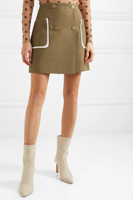 Fendi 皮革边饰羊毛真丝混纺迷你半身裙
