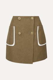 Fendi Leather-trimmed wool and silk-blend mini skirt