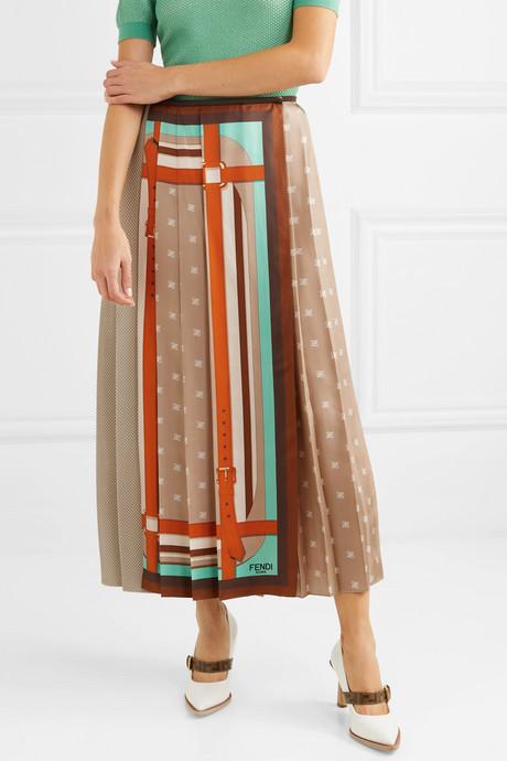 Crochet-paneled pleated printed silk-satin wrap skirt