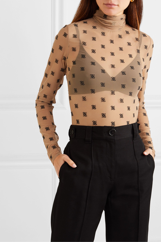 Fendi Embroidered tulle turtleneck bodysuit