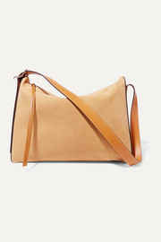 Berlingo leather-trimmed suede shoulder bag