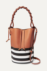 Loewe Gate striped textured-leather bucket bag