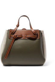 Loewe Lazo mini color-block leather and linen tote