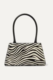 RIXO Dora leather-trimmed zebra-print calf hair tote
