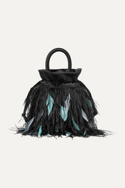 Mabel feather-embellished satin tote