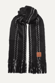 Loewe Leather-trimmed fringed wool-blend scarf
