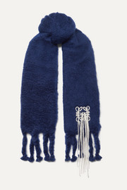 Embroidered mohair-blend scarf