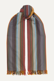 Marnela fringed striped cotton scarf