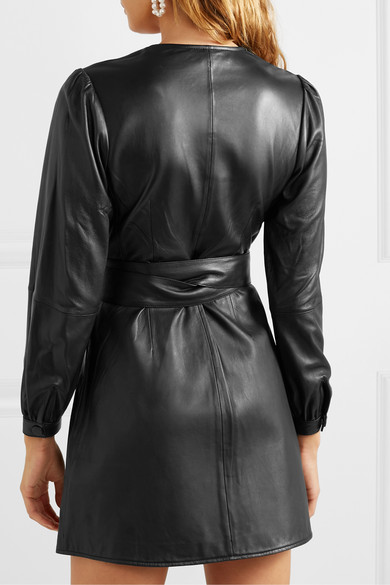 Maje Dresses Rosetola leather wrap dress