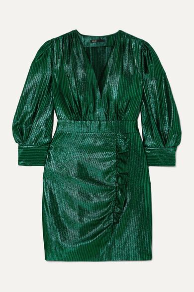rexy-ruffled-lamé-mini-dress by maje