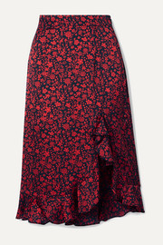 Javie ruffled floral-print satin skirt