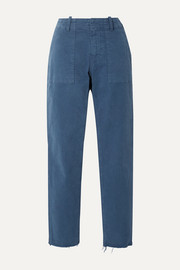 Nili Lotan Jenna cropped frayed stretch-cotton twill straight-leg pants