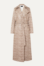 Michael Lo Sordo Snake-effect faux leather trench coat