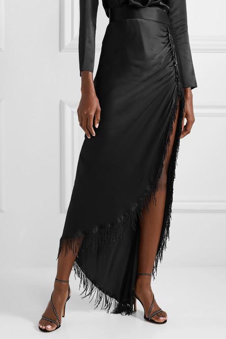 Asymmetric fringed beaded silk-satin maxi skirt