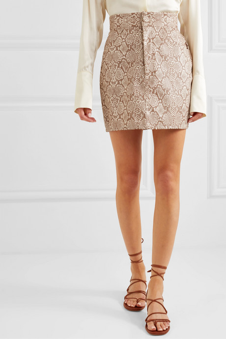 Snake-effect faux leather mini skirt