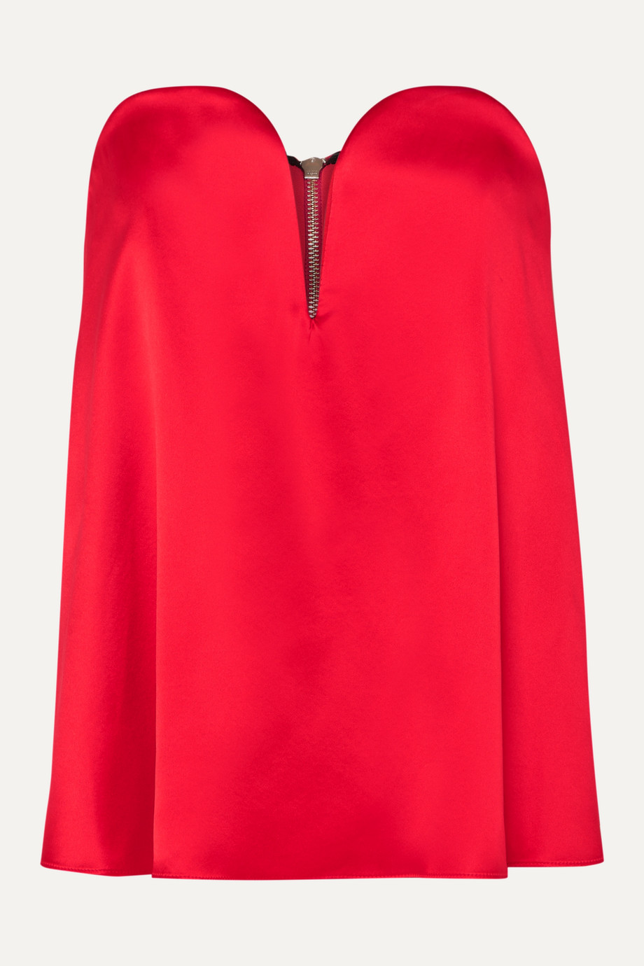 Michael Lo Sordo Layered silk-satin and faille bustier top,Red