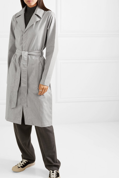 Belted cracked-PU trench coat