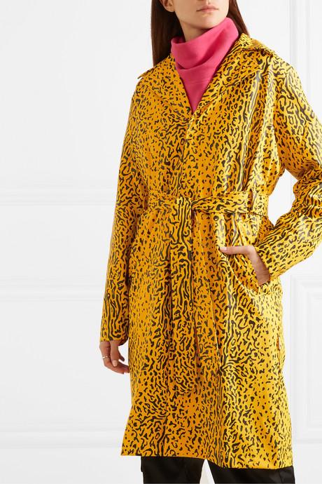 Belted leopard-print matte-PU trench coat