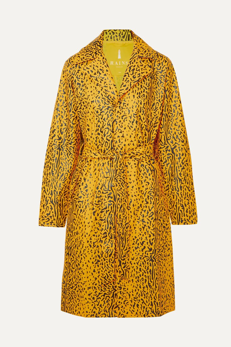Rains Belted leopard-print matte-PU trench coat