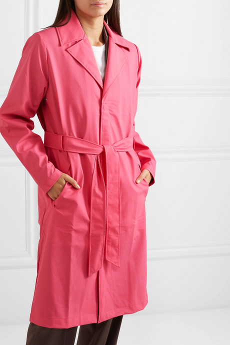 Belted matte-PU trench coat