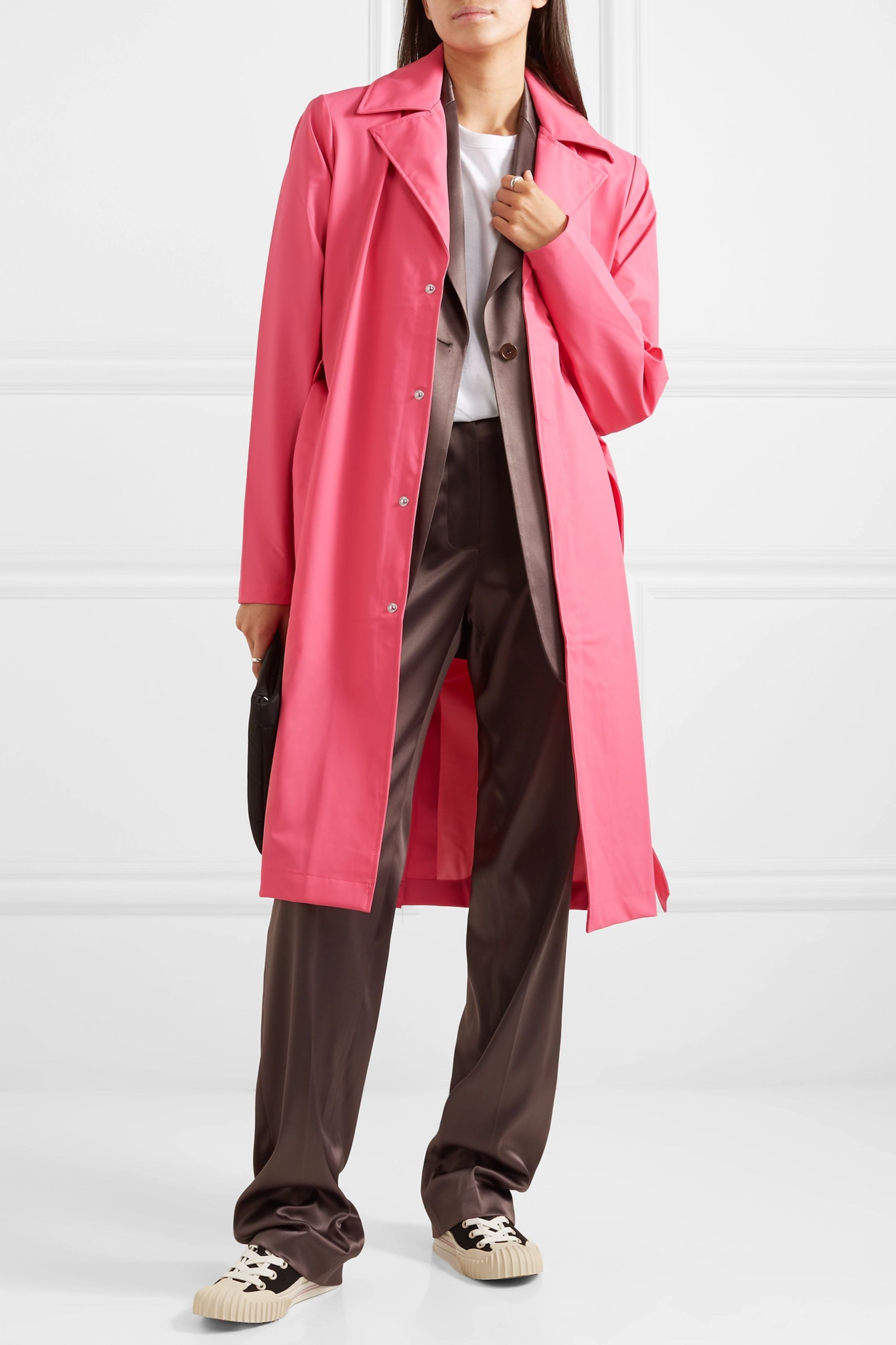 Rains Belted matte-PU trench coat