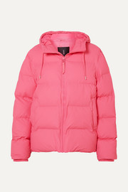 Hooded quilted matte-PU jacket