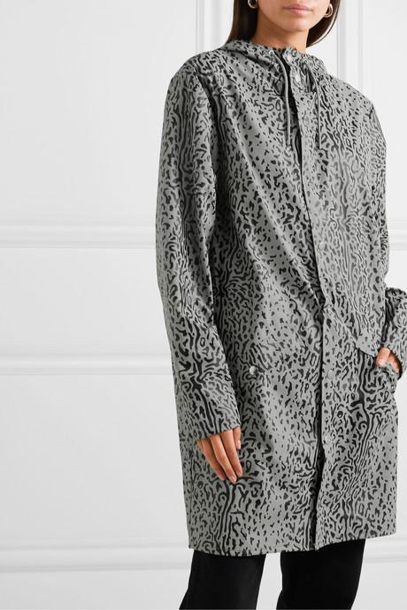 Hooded leopard-print matte-PU raincoat