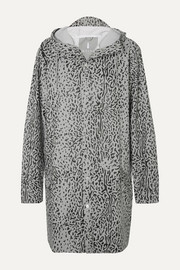 Hooded leopard-print matte-PU raincoat