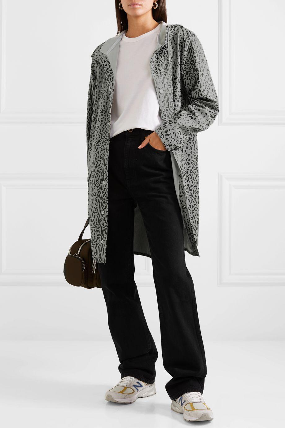 Rains Hooded leopard-print matte-PU raincoat