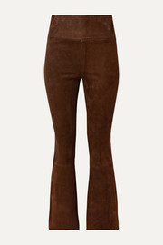 SPRWMN Cropped suede flared pants