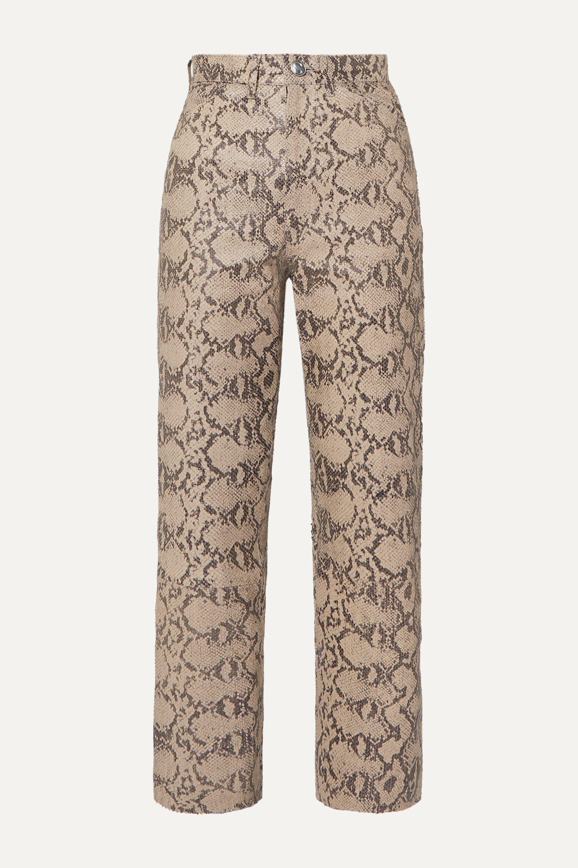 SPRWMN Snake-effect leather straight-leg pants