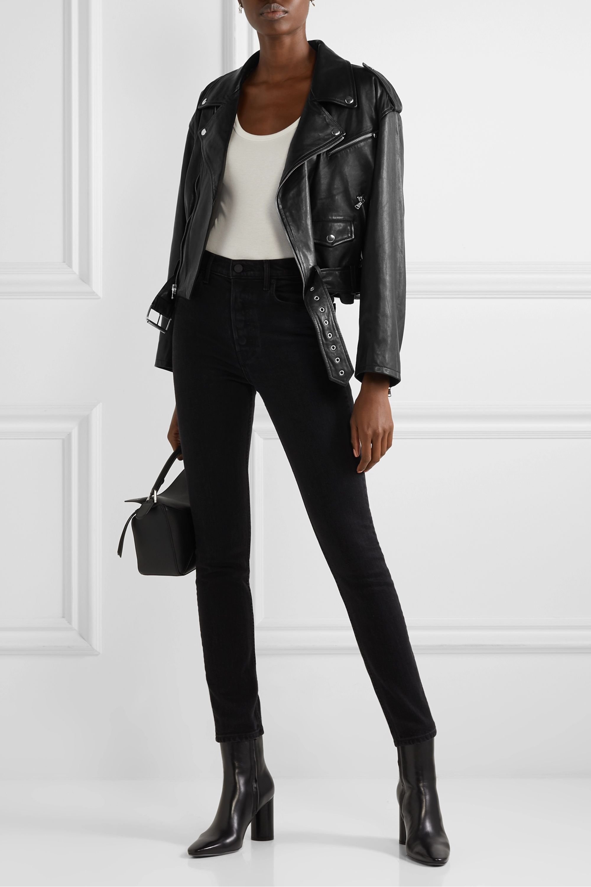 SPRWMN Cropped leather biker jacket