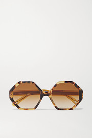 Chloé Willow hexagon-frame tortoiseshell acetate sunglasses