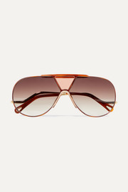 Chloé Willis aviator-style gold-tone sunglasses