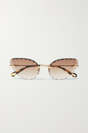 Chloé Rosie cat-eye gold-tone and tortoiseshell acetate sunglasses