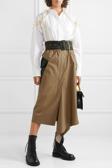 Sacai Skirts Belted shell-trimmed draped cotton-canvas midi skirt