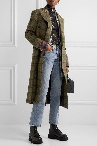 R13 Coats Oversized leopard-print cotton-trimmed checked wool-twill coat