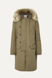 N-3B oversized faux fur-trimmed cotton parka