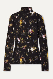 R13 Floral-print stretch-jersey turtleneck top