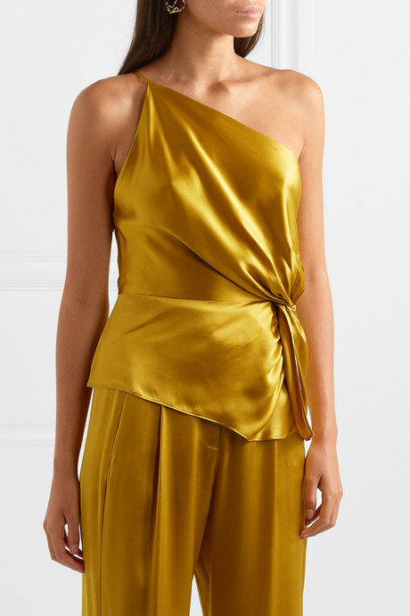 One-shoulder knotted silk-charmeuse top