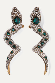 Serpent gold-tone crystal clip earrings