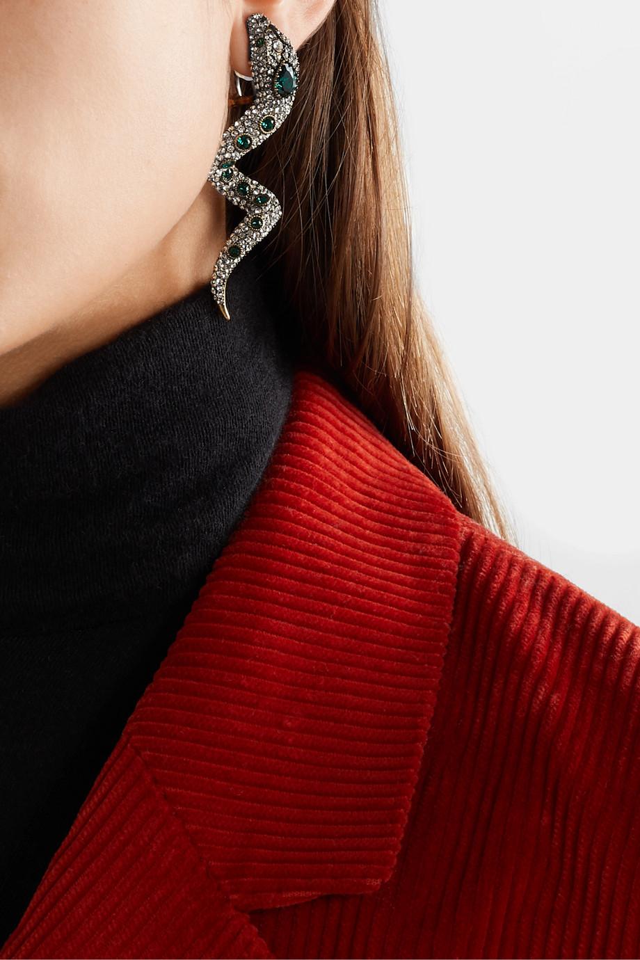 Gucci Serpent 水晶金色夹扣式耳环