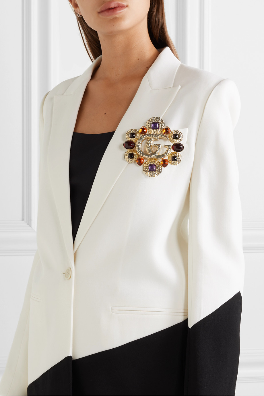 Gucci Gold-tone crystal brooch